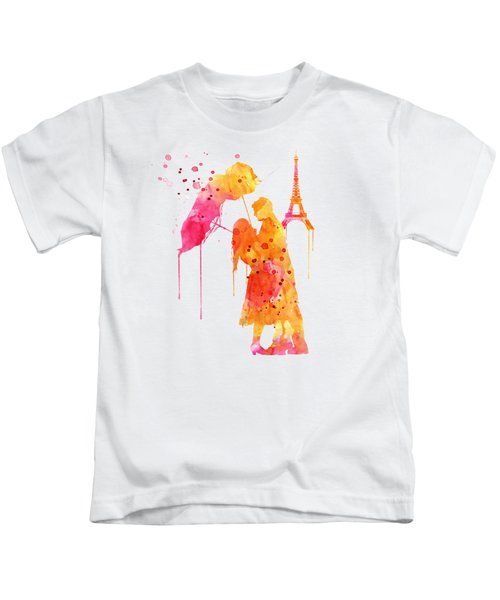 Watercolor Love Couple In Paris Kids T-Shirt by Marian Voicu