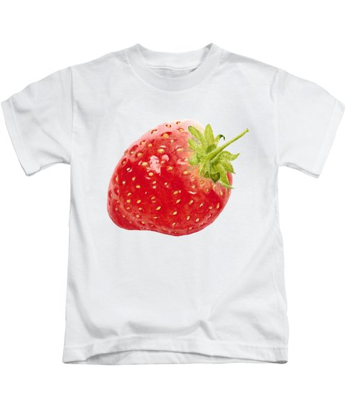 Watercolor Strawberry Kids T-Shirt by Kathleen Skinner