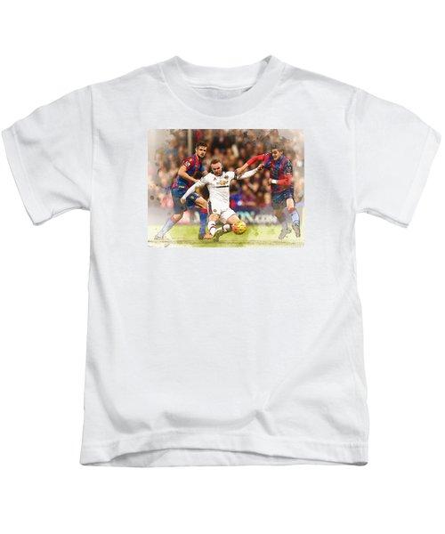 Wayne Rooney Shoots At Goal Kids T-Shirt by Don Kuing