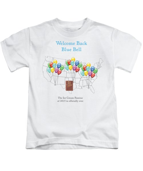Welcome Back Blue Bell Kids T-Shirt by Jacquie King