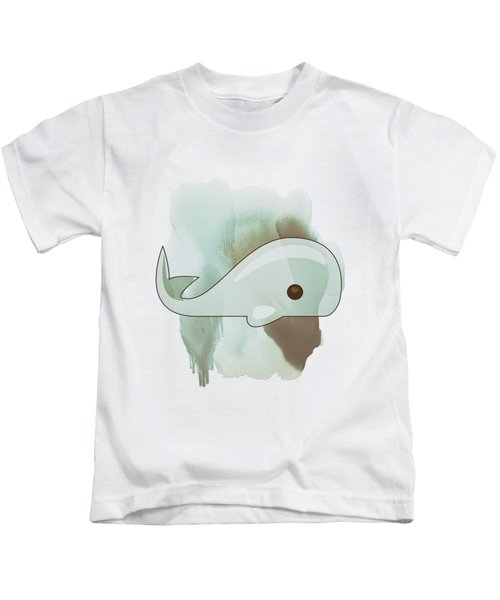 Whale Art - Bright Ocean Life Pastel Color Artwork Kids T-Shirt by Wall Art Prints