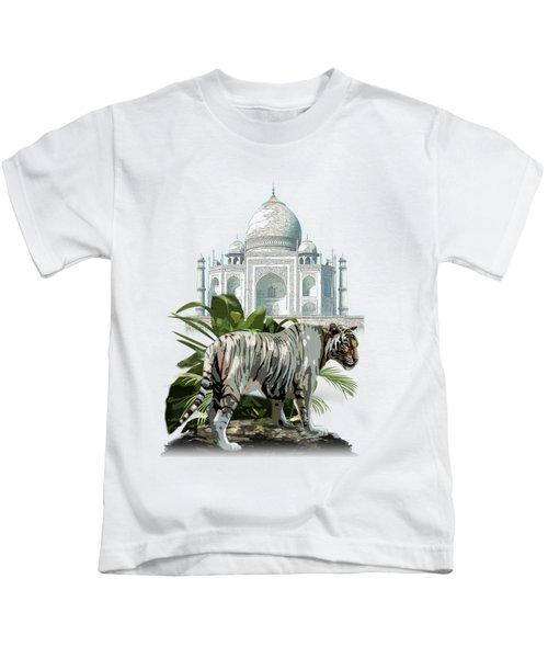 White Tiger And The Taj Mahal Image Of Beauty Kids T-Shirt by Regina Femrite