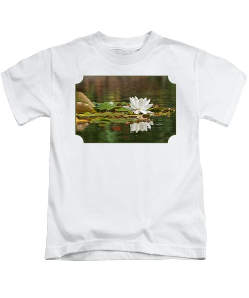 White Water Lily With Damselflies Kids T-Shirt by Gill Billington