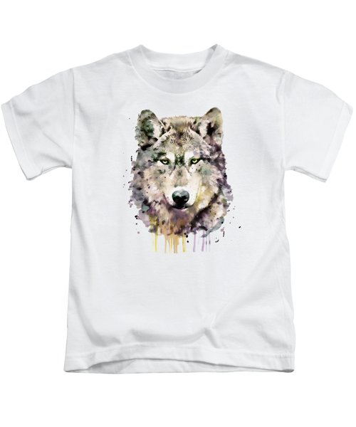 Wolf Head Kids T-Shirt by Marian Voicu