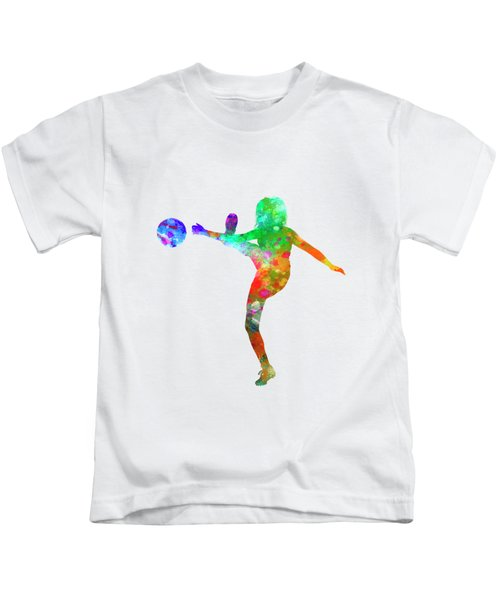 Woman Soccer Player 17 In Watercolor Kids T-Shirt by Pablo Romero
