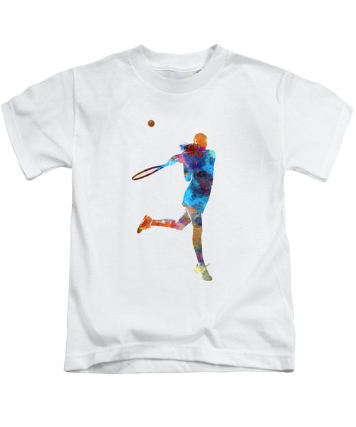 Woman Tennis Player 03 In Watercolor Kids T-Shirt by Pablo Romero