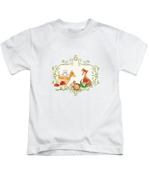 Woodland Fairytale - Grey Animals Deer Owl Fox Bunny N Mushrooms Kids T-Shirt by Audrey Jeanne Roberts