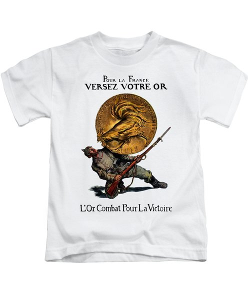 Wwi Gold For French Victory Kids T-Shirt by Historic Image