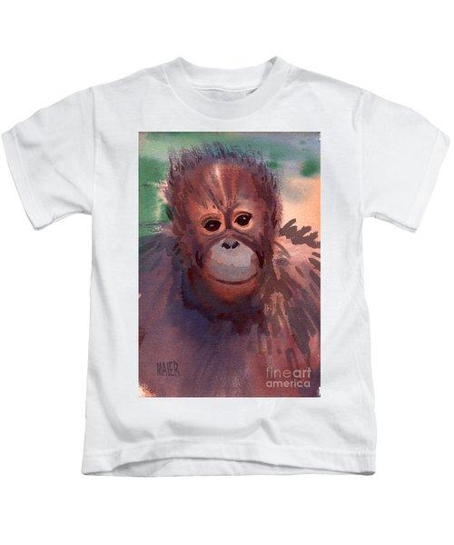 Young Orangutan Kids T-Shirt by Donald Maier