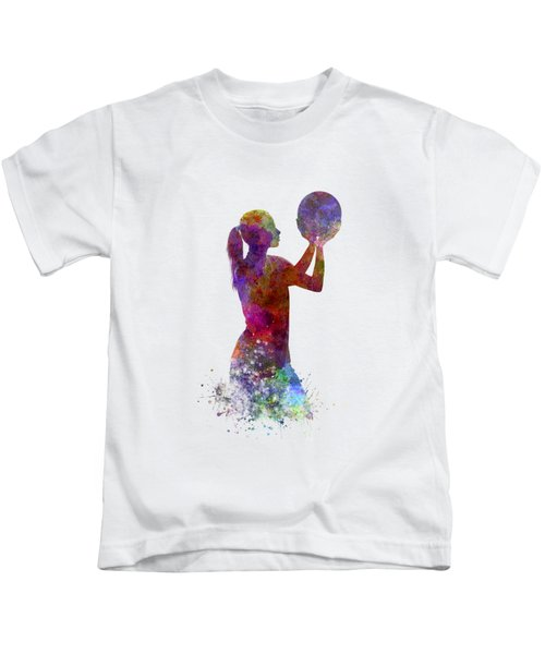 Young Woman Basketball Player 03 In Watercolor Kids T-Shirt by Pablo Romero