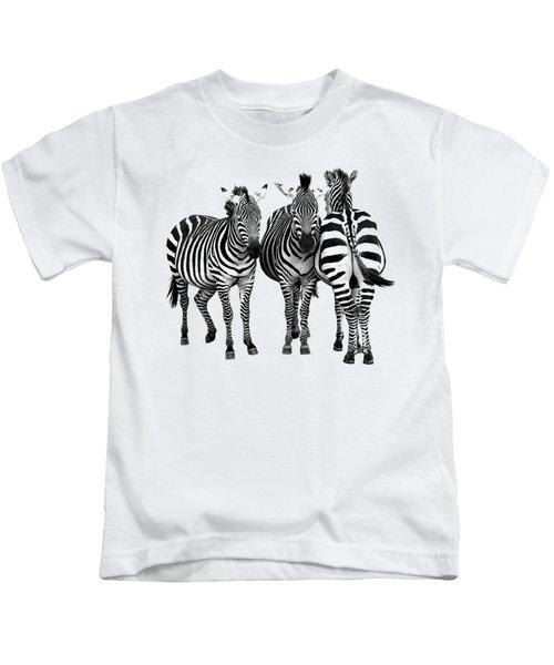 Zebra - Three's A Crowd Kids T-Shirt by Gill Billington