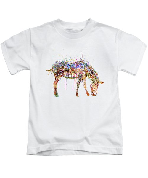 Zebra Watercolor Painting Kids T-Shirt by Marian Voicu