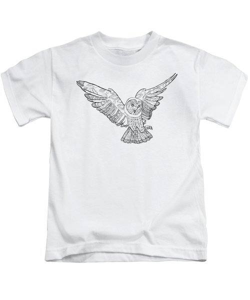 Zentangle Owl In Flight Kids T-Shirt by Cindy Elsharouni