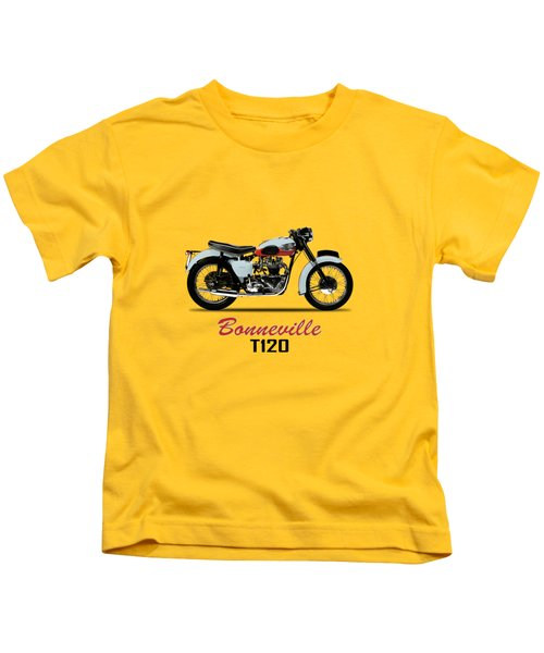 1959 T120 Bonneville Kids T-Shirt by Mark Rogan