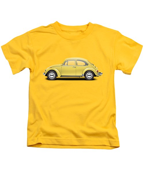 1972 Volkswagen Beetle - Saturn Yellow Kids T-Shirt by Ed Jackson