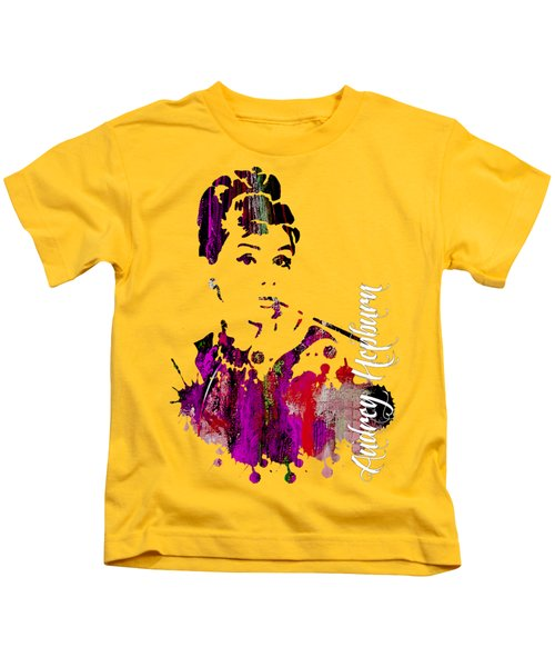 Audrey Hepburn Collection Kids T-Shirt by Marvin Blaine