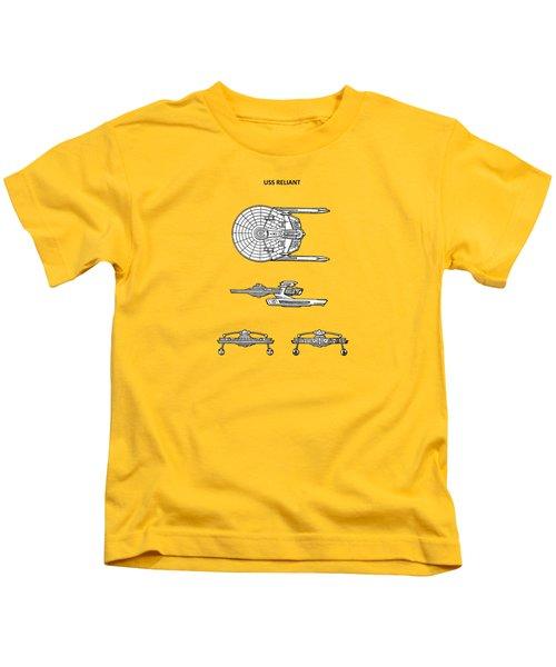 Star Trek - Uss Reliant Patent Kids T-Shirt by Mark Rogan