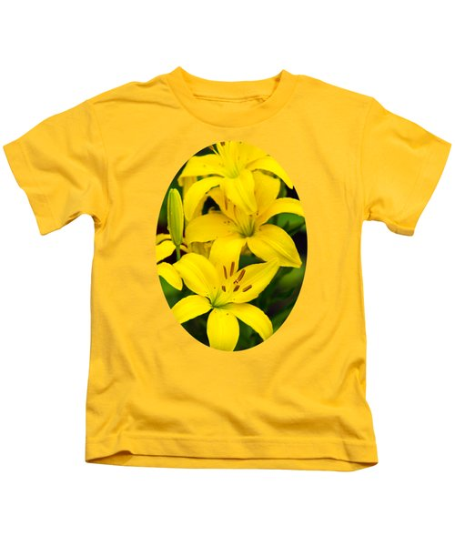 Yellow Lilies Kids T-Shirt by Christina Rollo