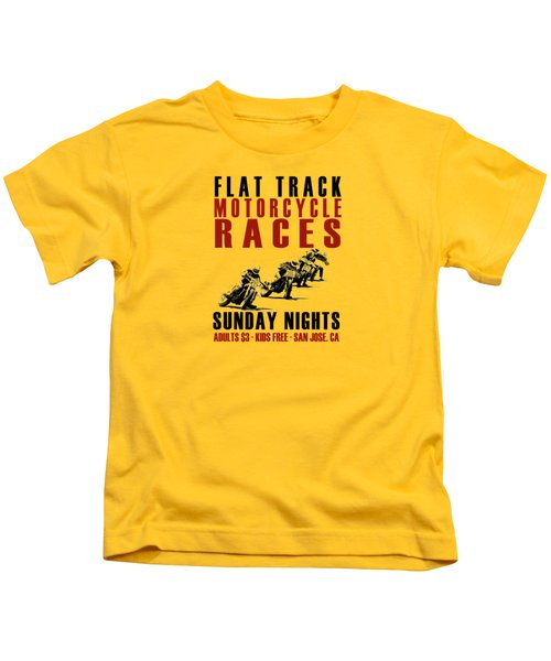 Flat Track Motorcycle Races Kids T-Shirt by Mark Rogan