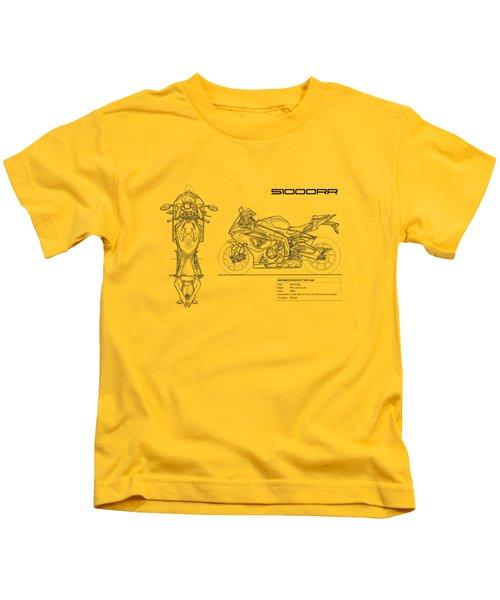 Blueprint Of A S1000rr Motorcycle Kids T-Shirt by Mark Rogan