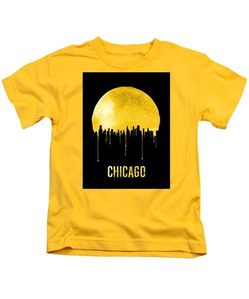 Chicago Skyline Yellow Kids T-Shirt by Naxart Studio
