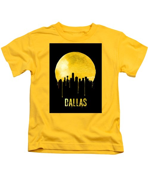 Dallas Skyline Yellow Kids T-Shirt by Naxart Studio