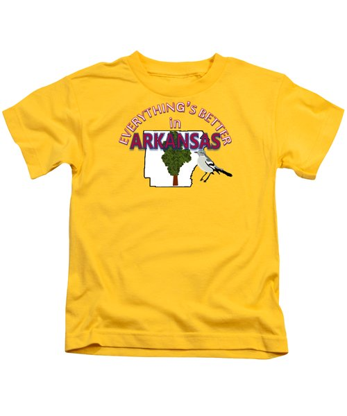 Everything's Better In Arkansas Kids T-Shirt by Pharris Art