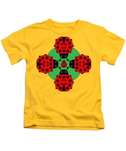 Five Lucky Ladybugs Kids T-Shirt by John Groves