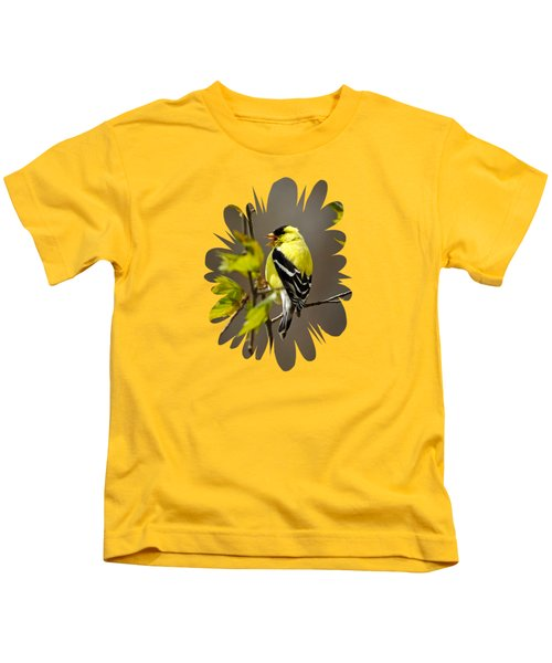 Goldfinch Suspended In Song Kids T-Shirt by Christina Rollo