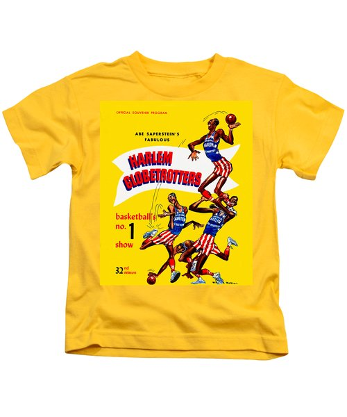 Harlem Globetrotters Vintage Program 32nd Season Kids T-Shirt by Big 88 Artworks