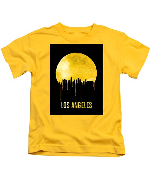 Los Angeles Skyline Yellow Kids T-Shirt by Naxart Studio