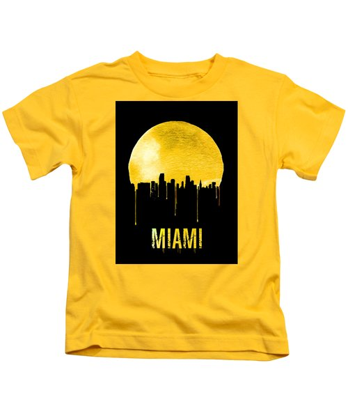 Miami Skyline Yellow Kids T-Shirt by Naxart Studio