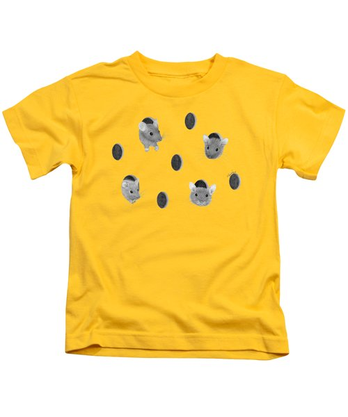 Mice In Swiss Cheese Kids T-Shirt by Rita Palmer