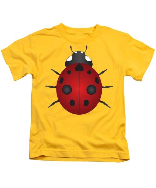 Red Ladybug Color Illustration Kids T-Shirt by Jit Lim