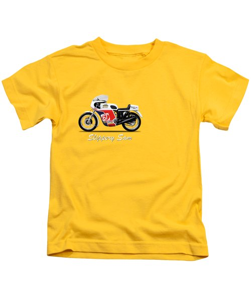 Slippery Sam Production Racer Kids T-Shirt by Mark Rogan