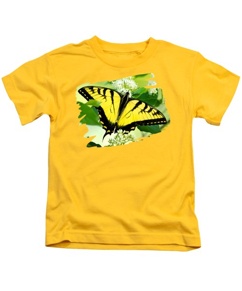 Swallowtail Butterfly Feeding On Flowers Kids T-Shirt by Christina Rollo