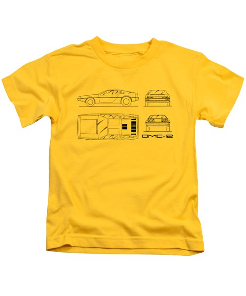 The Delorean Dmc-12 Blueprint - White Kids T-Shirt by Mark Rogan