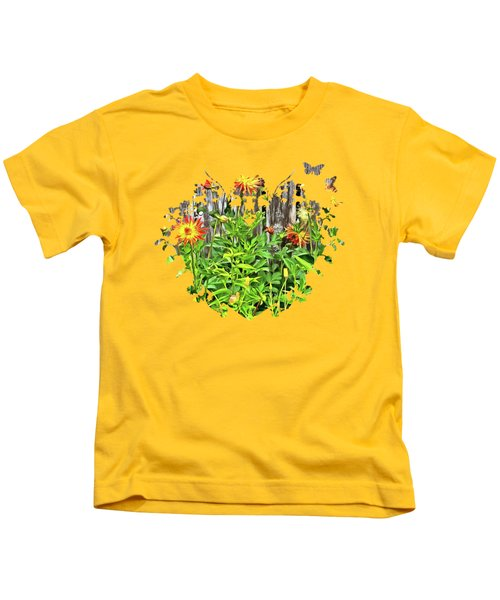 The Flowers Along The Fence  Kids T-Shirt by Thom Zehrfeld