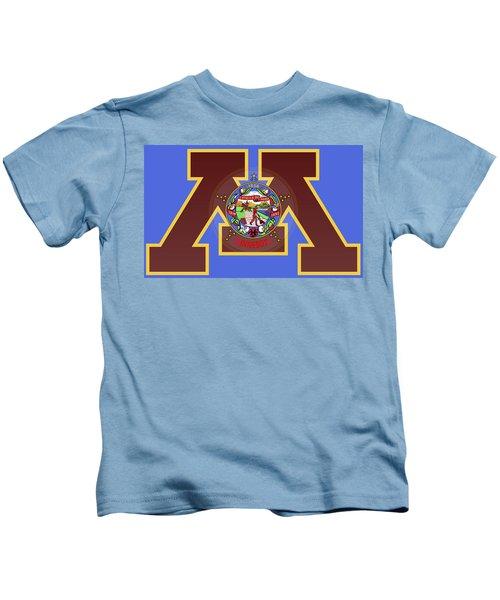 U Of M Minnesota State Flag Kids T-Shirt by Daniel Hagerman
