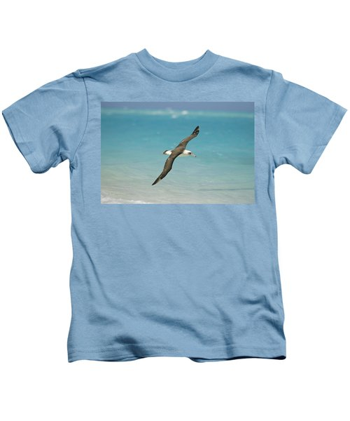 Laysan Albatross Flying Midway Atoll Kids T-Shirt by Tui De Roy