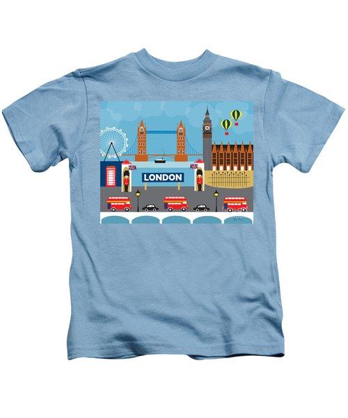London England Skyline Style O-lon Kids T-Shirt by Karen Young