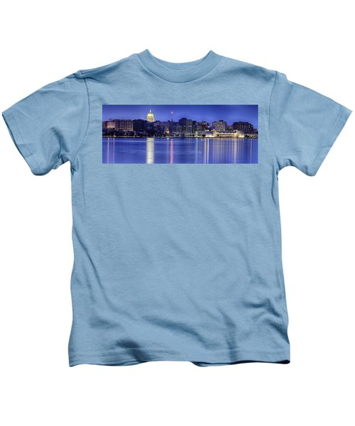 Madison Skyline Reflection Kids T-Shirt by Sebastian Musial