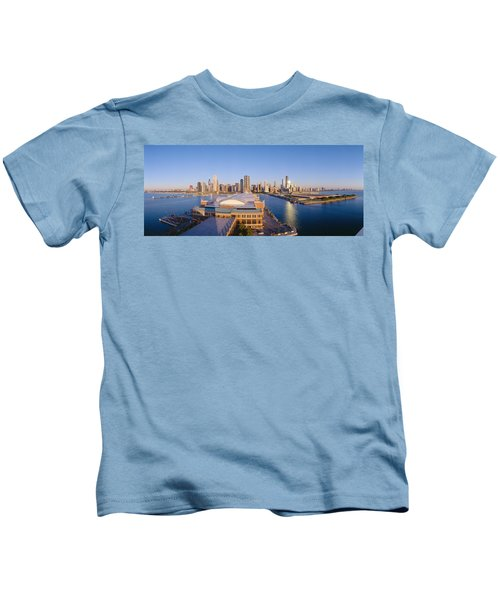 Navy Pier, Chicago, Morning, Illinois Kids T-Shirt by Panoramic Images