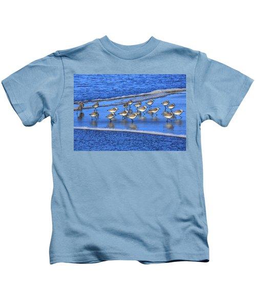 Sandpiper Symmetry Kids T-Shirt by Robert Bynum