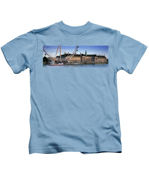 The London Eye And County Hall Kids T-Shirt by Rod McLean