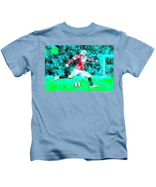 Wayne Rooney Splats Kids T-Shirt by Brian Reaves