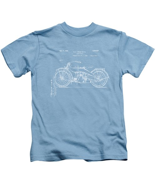1924 Harley Motorcycle Patent Artwork Blueprint Kids T-Shirt by Nikki Marie Smith