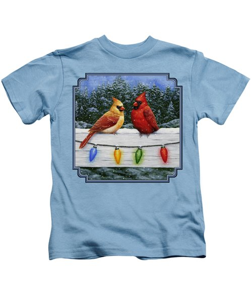 Bird Painting - Christmas Cardinals Kids T-Shirt by Crista Forest