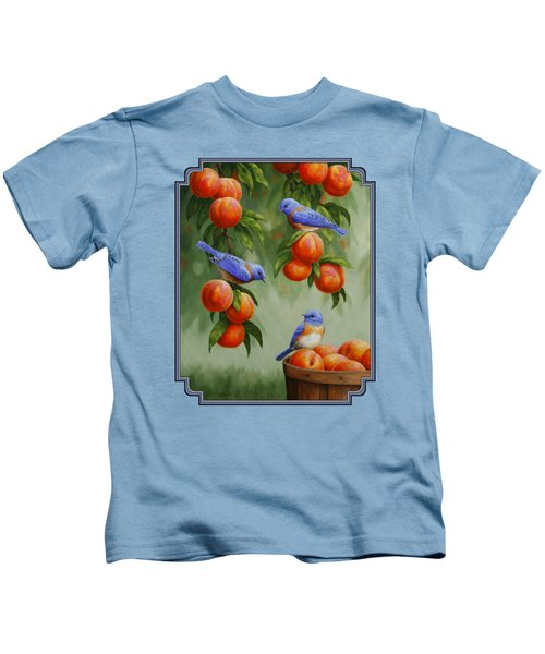 Bird Painting - Bluebirds And Peaches Kids T-Shirt by Crista Forest
