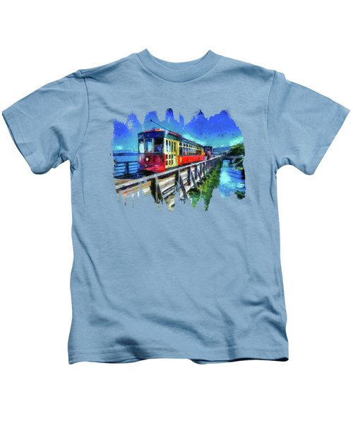 Astoria Riverfront Trolley Kids T-Shirt by Thom Zehrfeld